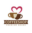 coffee shop with premium beans logotype with cups vector image vector image