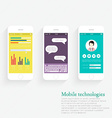 Collection of Mobile Phones with User Interface vector image vector image