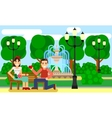 Couple on a Park bench date Flat vector image vector image