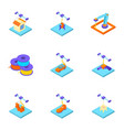 create a home icons set isometric style vector image vector image