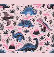 cute cartoon dinosaurs seamless pattern in pink vector image