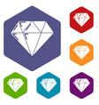 diamond icons hexahedron vector image vector image