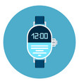 digital wrist watch icon on blue round background vector image vector image