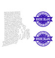 dotted map of rhode island state and grunge stamp vector image