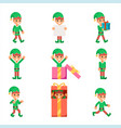 elves characters set santa claus helper in vector image