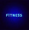 fitness neon text vector image vector image