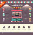 flat style cocktail bar design web site design vector image vector image