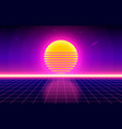 futuristic retro landscape 80s background vector image