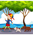 girl and two dogs walking on street vector image vector image
