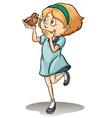 Girl holding a talking bird vector image vector image