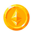 golden ethereum coin crypto currency blockchain vector image
