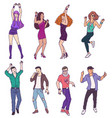 group people characters in sketch style dancing vector image vector image
