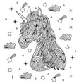 hand drawn unicorn on white background vector image vector image
