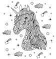 hand drawn unicorn on white background vector image