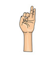 hand with pinky and ring finger up symbol vector image vector image