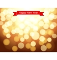 Happy New Year ribbon on gold bokeh background vector image