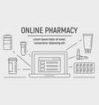 laptop online pharmacy banner outline style vector image