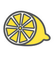 lemon line icon fruit and vitamin vector image