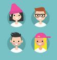 millennials profile pics set flat portraits vector image