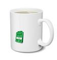 mug green tea white realistic isolated 3d vector image