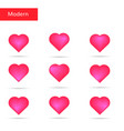 pink hearts set bright hearts vector image
