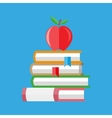 red apple on a pile books vector image vector image