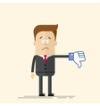 Sad businessman or manager shows a sign Thumb Down vector image