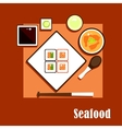 Seafood dishes and sauce of asian cuisine vector image vector image