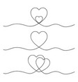 set hearts drawn in one continuous line vector image