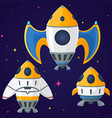 set of cartoon spaceships and rockets vector image vector image