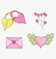 set valentine day decoration style vector image