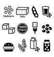 Soy beans soya tofu icons set vector image vector image