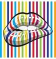 Striped makeup lips