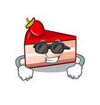 super cool strawberry cake character cartoon vector image vector image