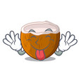 tongue out half coconut isolated on the mascot vector image
