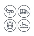 transportation industry line icons vector image