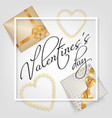 valentines day card with gifts vector image