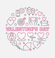 valentines day round in thin vector image vector image