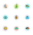 Water sport icons set pop-art style vector image vector image