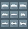 white flat style various body types cars icons vector image