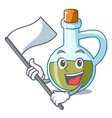with flag small bottle of olive oil mascot vector image