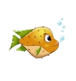 yellow fish on isolated background vector image vector image