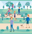 young people with dogs in the park vector image vector image