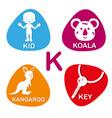 cute alphabet in k letter for kid koala vector image