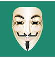 Anonymous mask isolated on green Mysterious person vector image vector image