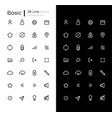 basic linear icons set for dark and light mode vector image vector image