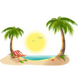 Beach chaise longue under palm tree Summer vector image vector image