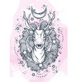 beautiful hand-drawn tribal style deer on vector image