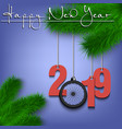 bicycle wheell and 2019 on a christmas tree branch vector image