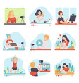 blogging and vlogging set people bloggers vector image vector image
